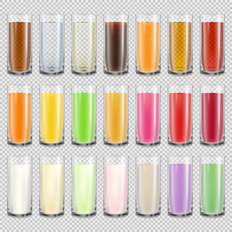 Big set of glasses with different drinks. realistic milk, water, juice and cola in translucent cups isolated on transparent background. milkshake drink