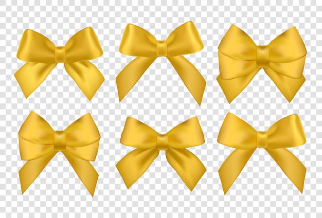 Big set of gold gift bows with ribbons.