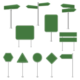 Big set green stop signs and traffic sign collection