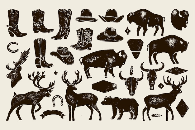 Big set of hand draw vintage native american signs from deer, buffalo, cowboy boots and hats, cow skulls, bear. vector badge silhouette for creating logos, lettering, posters and postcards.