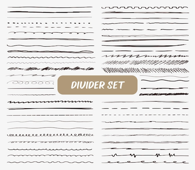 Big set of hand drawing dividers brushes and pen in line style