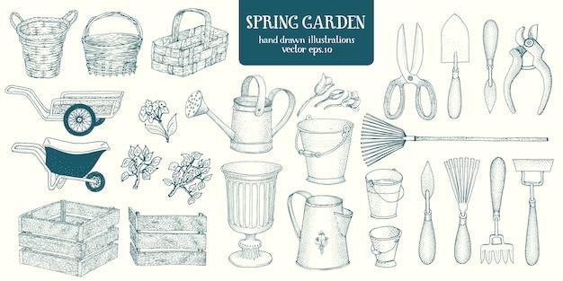 Big set of hand drawn sketch garden elements. gardening tools. engrave style vintage illustrations.