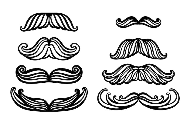 Big set of hand drawn vector mustache funny mustache collection of cartoon barber silhouette hairsty...
