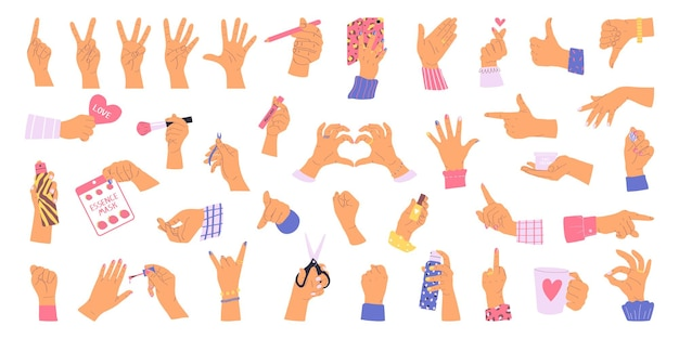Big set of hands isolated on white background vector illustration in flat style