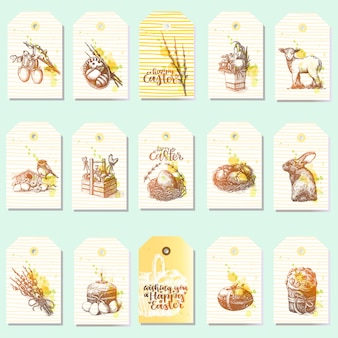 Big set of happy easter tags with traditional easter things
