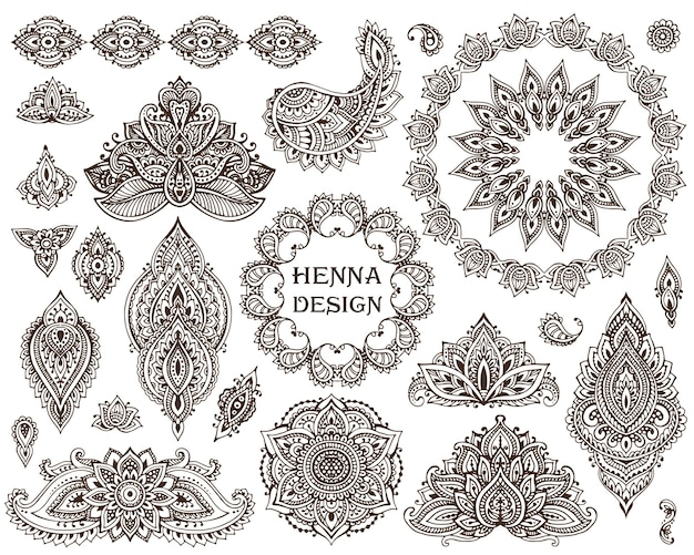 Big  set of henna floral elements and frames based on traditional asian ornaments