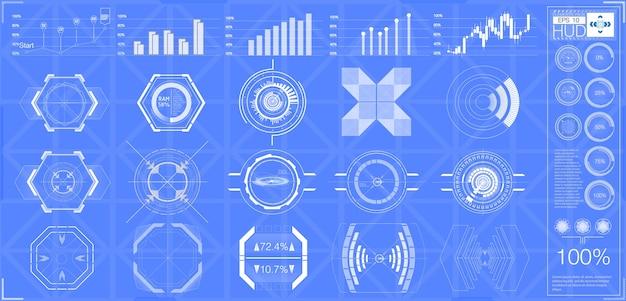 Большой набор элементов hud, графики, дисплеев, аналоговых и цифровых инструментов, радарных шкал.