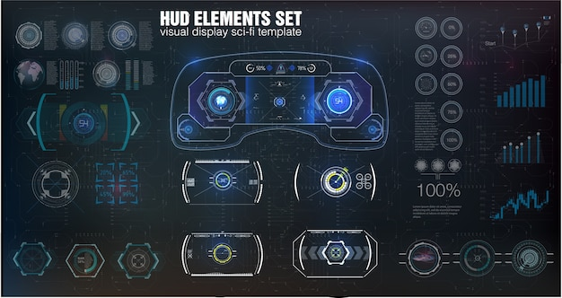 Big set hud elements, graphics, displays, analog and digital instruments, radar scales.