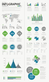 Big set of infographic business elements blue green vector