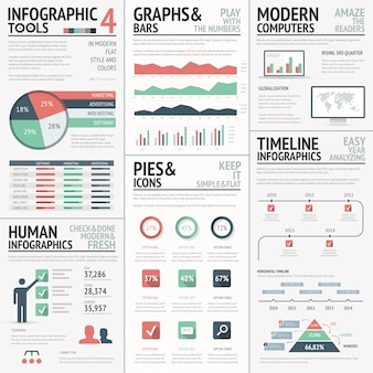 Big set of infographic elements red green vector