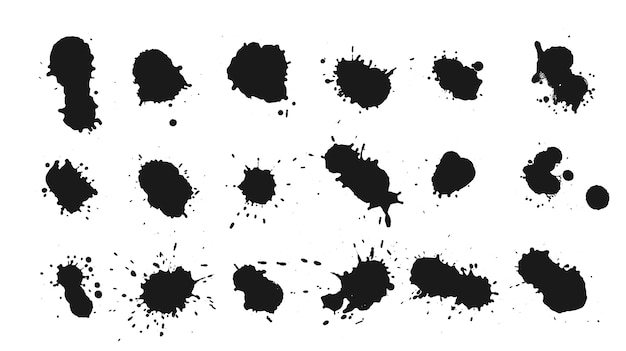 Big set of ink drops splats design