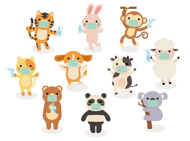 Grande insieme di animali isolati.