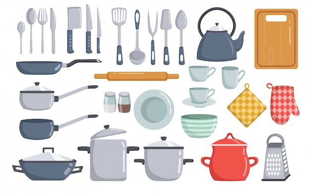 Big set of kitchen tools vector elements cartoon