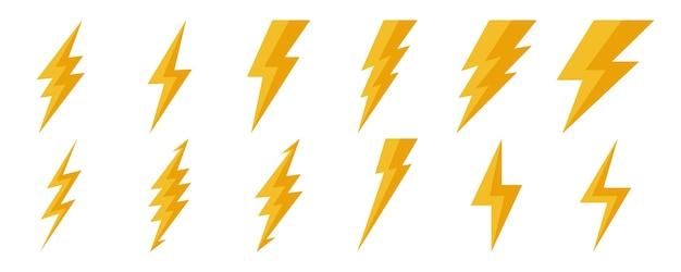 Big set of lightning icons