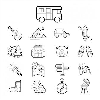 Большой набор линейных иконок для кемпинга и туризма