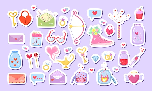 Big set love stickers in flat style with cute romantic elements.