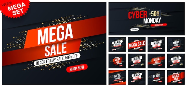 Big set of mega sale banners with gold halftone glitter effect for sales and discounts