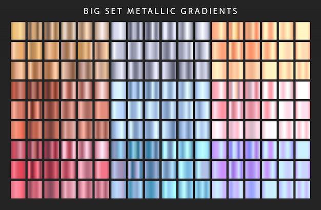 大きなセットの金属グラデーション。グラデーション色のコレクション。異なる金属のグラデーション。