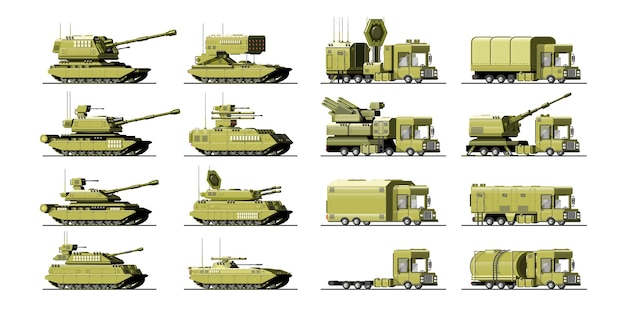 Big set of military equipment. heavy, reservations and special transport. equipment for the war. the missile, tanks, trucks, armored vehicles, artillery pieces. isolated objects. illustration