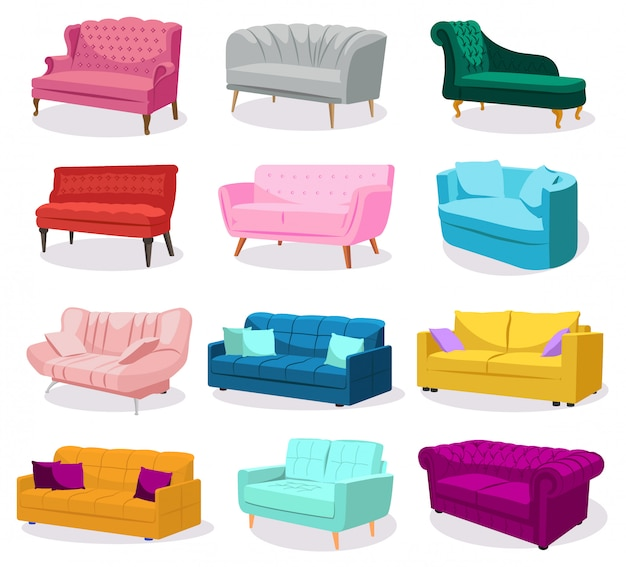 Big set of modern colorful soft sofas with upholstery