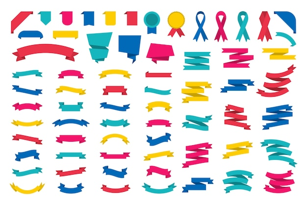 Big set of modern ribbons for design.