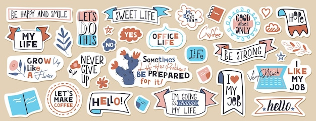 Big set of motivational phrases, quotes, and stickers. 33 objects.