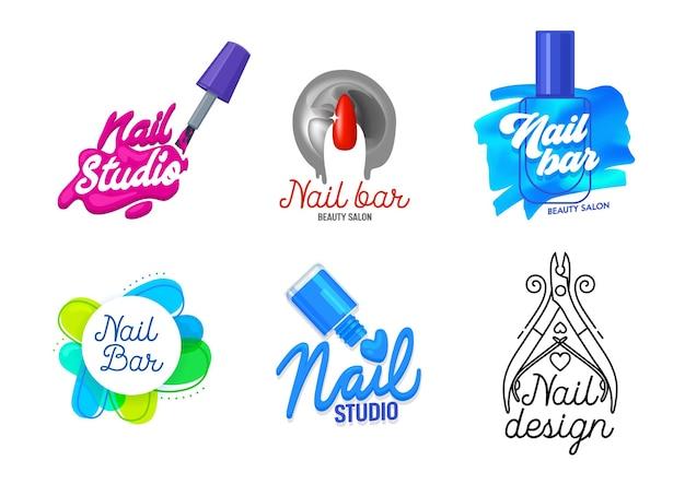 Big set of nail art studio icons or logo design.