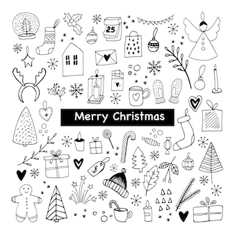Big set of new year and xmas icons cute hand drawn vector illustration winter elements