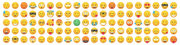 Большой набор из 100 иконок улыбки смайлика. набор мультяшных смайликов.