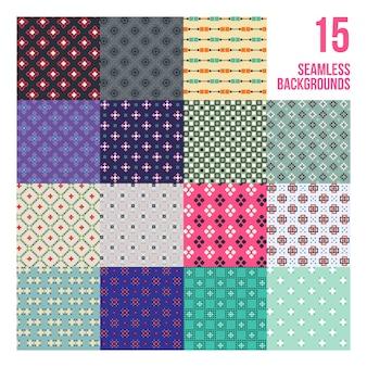 Большой набор из 16 красочных пиксельных моделей. детский стиль. полезно для упаковки и текстильного дизайна.