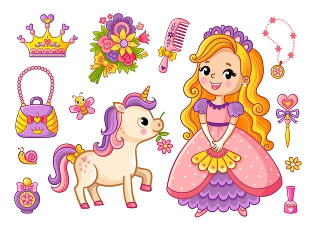 Большой набор красивой маленькой принцессы и единорога