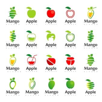 애플과 망고 로고 디자인 영감의 큰 세트