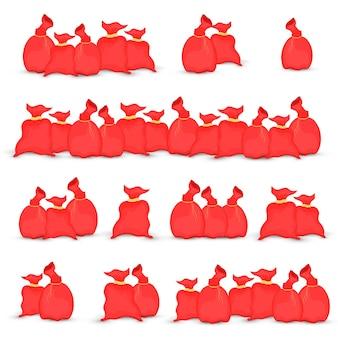 サンタクロースのバッグの大きなセット。クリスマスの赤いバッグのイラスト。新年のコレクション。白い背景で隔離。