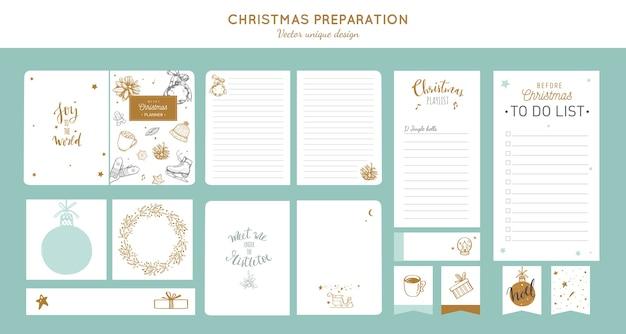 메리 크리스마스와 새해 준비 플래너가 노트북 스티커 쇼핑 목록 등을 나열하기 전에 큰 세트