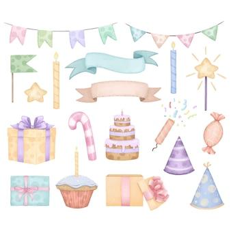 생일 또는 파티 항목 요소의 큰 세트