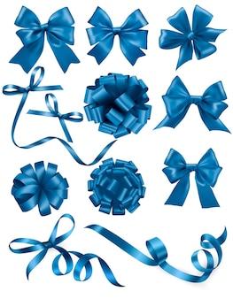 Большой набор синих подарочных бантов с лентами