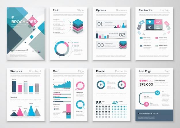 ビジネスパンフレットとインフォテイメントベクター要素の大きなセット