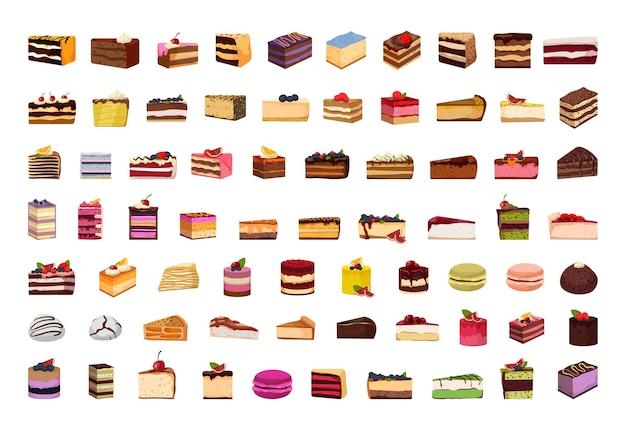 케이크 페이스트리와 치즈 케이크의 큰 세트