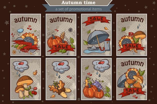 Большой набор карточек из вертикальных цветных каракулей на тему осени