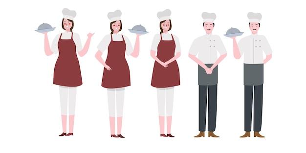 다양한 활동을 가진 큰 요리사 캐릭터 세트