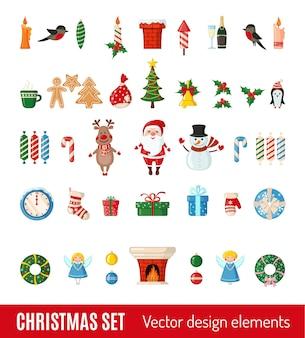 흰색 배경에 고립 된 평면 스타일에 크리스마스와 새 해 아이콘의 큰 집합입니다. 벡터 일러스트 레이 션. 전통적인 크리스마스 기호입니다.