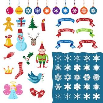 Большой набор рождественских украшений, персонажей, снежинок и символов. часть первая. eps 10 векторные иллюстрации, без прозрачности