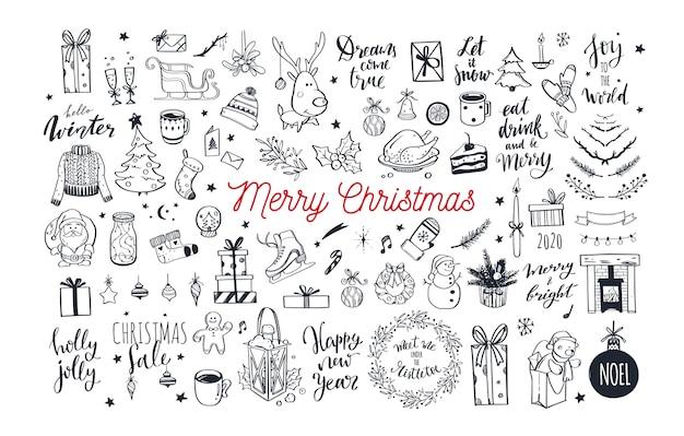 Большой набор элементов каракули дизайна рождества.