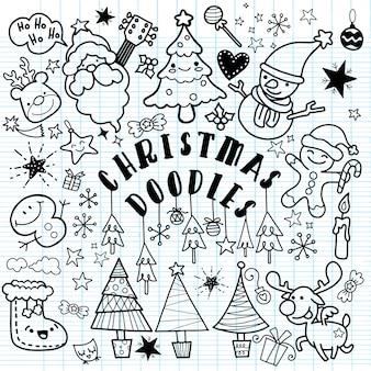 낙서 스타일에서 크리스마스 디자인 요소의 큰 세트