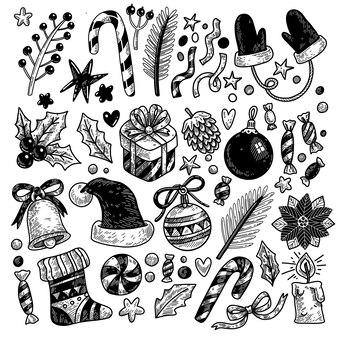 Большой набор рождественских элементов, нарисованных в стиле каракули