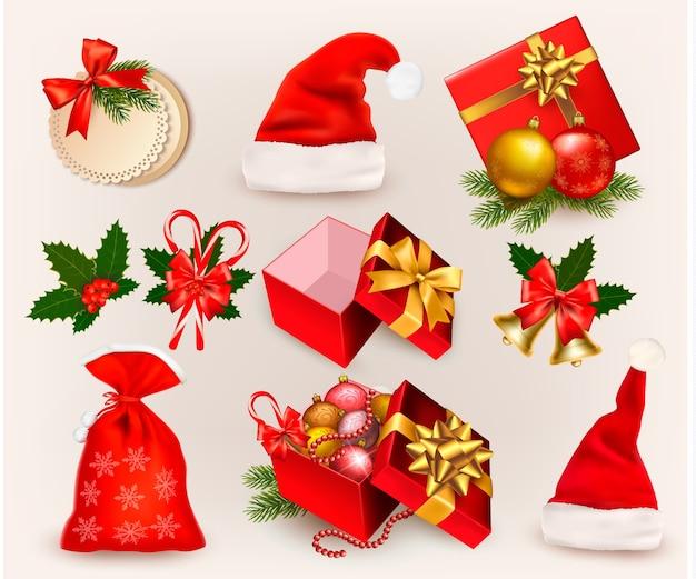 Большой набор рождественских иконок и предметов.