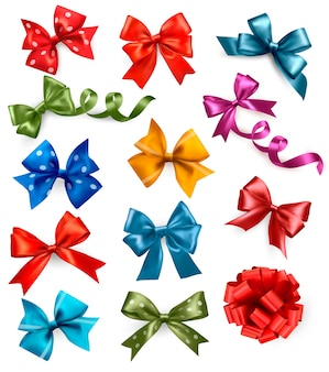 Большой набор красочных подарочных бантов с лентами