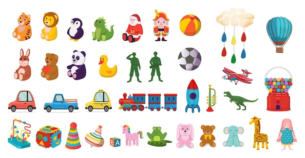 어린이를위한 다채로운 장난감의 큰 세트