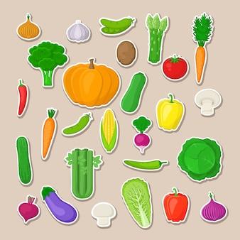 Большой набор красочных овощей. изолированные наклейки овощей. натуральные свежие органические овощи.