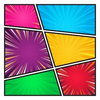 방사형 나선형 점선과 하프톤이 있는 다양한 색상의 만화 배경 세트